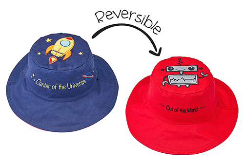 Reversible Kids & Toddler Sun Hat - Spaceship & Robot