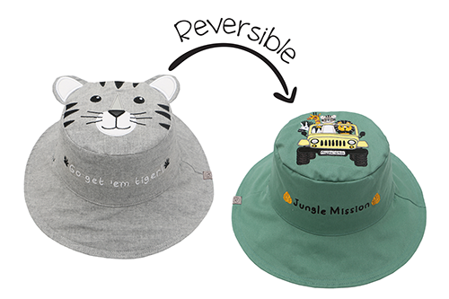 Reversible Kids & Toddler Sun Hat - Tiger & Safari Truck