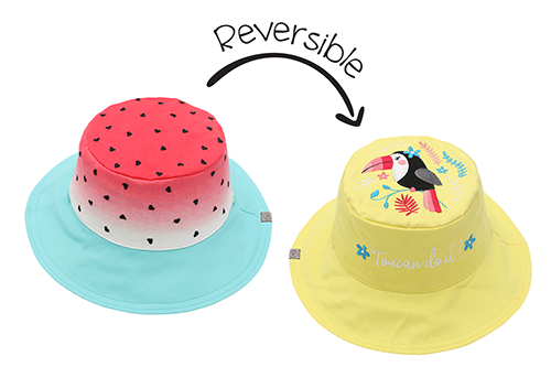 Reversible Kids & Toddler Sun Hat - Watermelon & Toucan