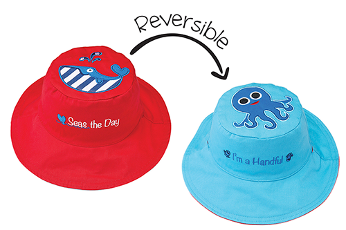Reversible Kids & Toddler Sun Hat - Whale & Blue Octopus