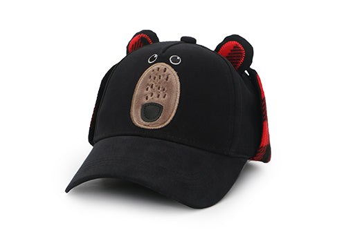 Kids 3D Winter Cap with Ear Flaps - Black Bear