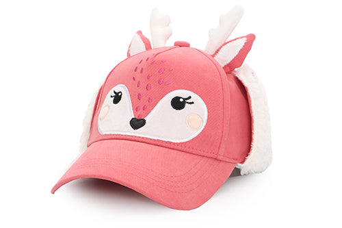 Kids 3D Winter Cap with Ear Flaps - Deer