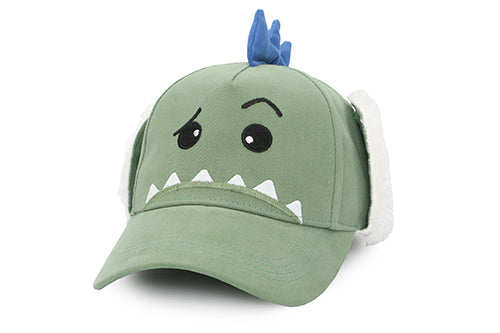 Kids 3D Winter Cap with Ear Flaps - Dinosaur