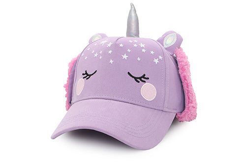 Kids 3D Winter Cap with Ear Flaps - Unicorn