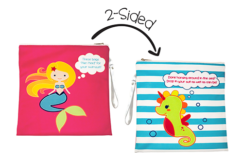 2-Sided Kids Wet Bag - Mermaid / Seahorse