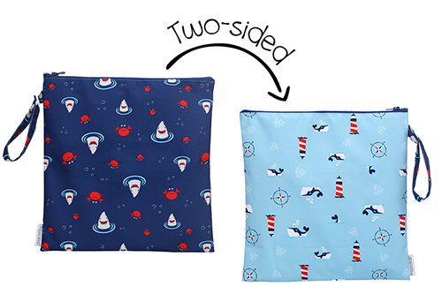2-Sided Kids Wet Bag - Shark & Crab | Nautical