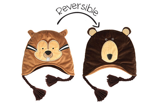 Kids & Baby Reversible Winter Hat - Chipmunk & Brown Bear