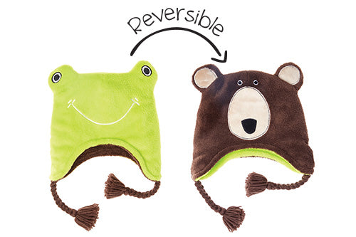 Kids & Baby Reversible Winter Hat - Frog & Bear