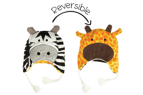Kids & Baby Reversible Winter Hat - Giraffe & Zebra