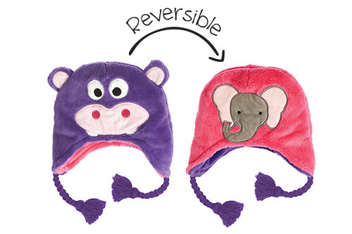 Kids & Baby Reversible Winter Hat - Hippo & Elephant