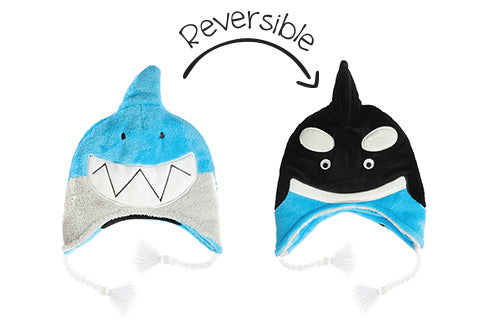 Kids & Baby Reversible Winter Hats - Shark & Orca