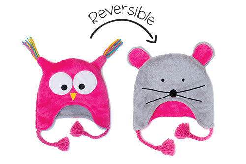 Kids & Baby Reversible Winter Hat - Owl & Mouse