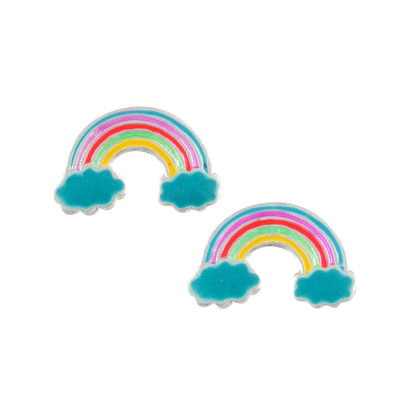 Sterling Silver Enamel Rainbow And Clouds Post Earring - Emily