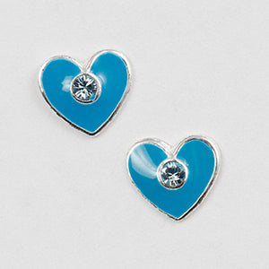 Blue Enamel Heart Post Earring