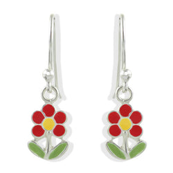Enamel Flower with Stem Earring