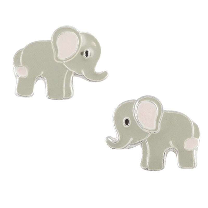 Enamel Elephant Post Earring