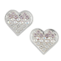Heart Post Earring With Graduating Clear-To-Purple Crystal