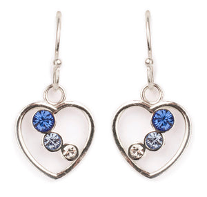 Blue Ombre Crystal Heart Earring
