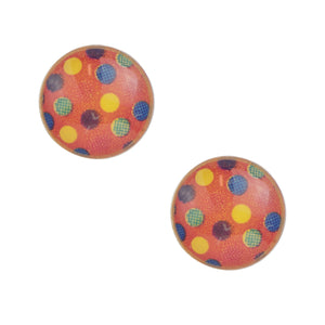 Pink Polka Dot Post Earring