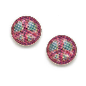 Tie Dye Peace Sign Post Earrings