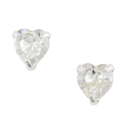 Crystal Clear Heart Post Earring