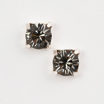 Gray Crystal Square Post Earrings