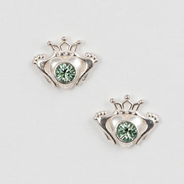 Claddagh Post Earring With Green Crystal