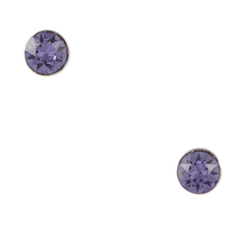 Tiny Crystal Purple Post Earring