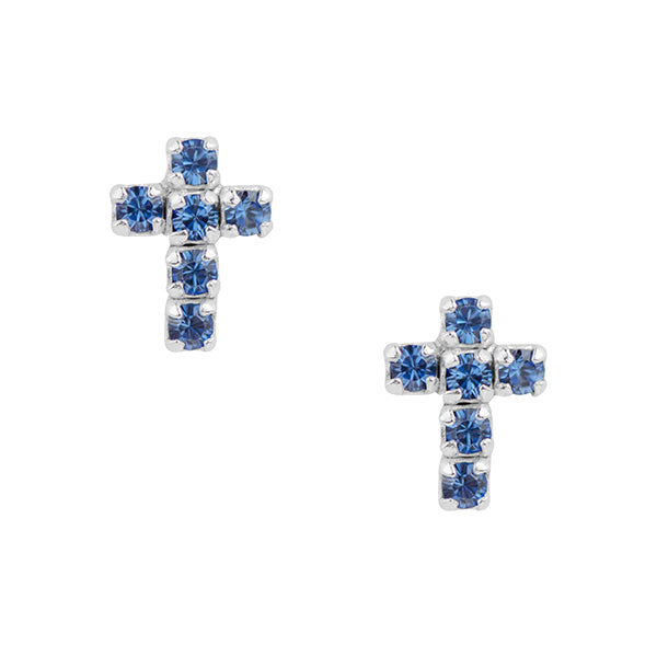 Blue Crystal Cross Post Earring