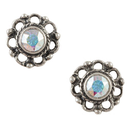 Crystal Bali Flower Post Earring - Aurora