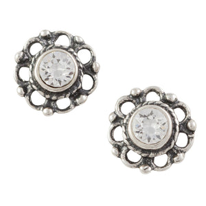 Crystal Bali Flower Post Earring Clear
