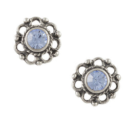 Bali Crystal Flower Post Earring - Blue