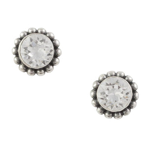 Crystal Bali Post Earring - Clear