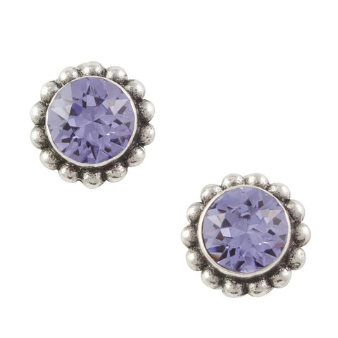 Crystal Bali Post Earring - Purple