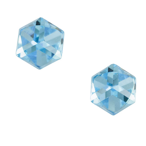 Crystal Cube Post Earring Light Blue