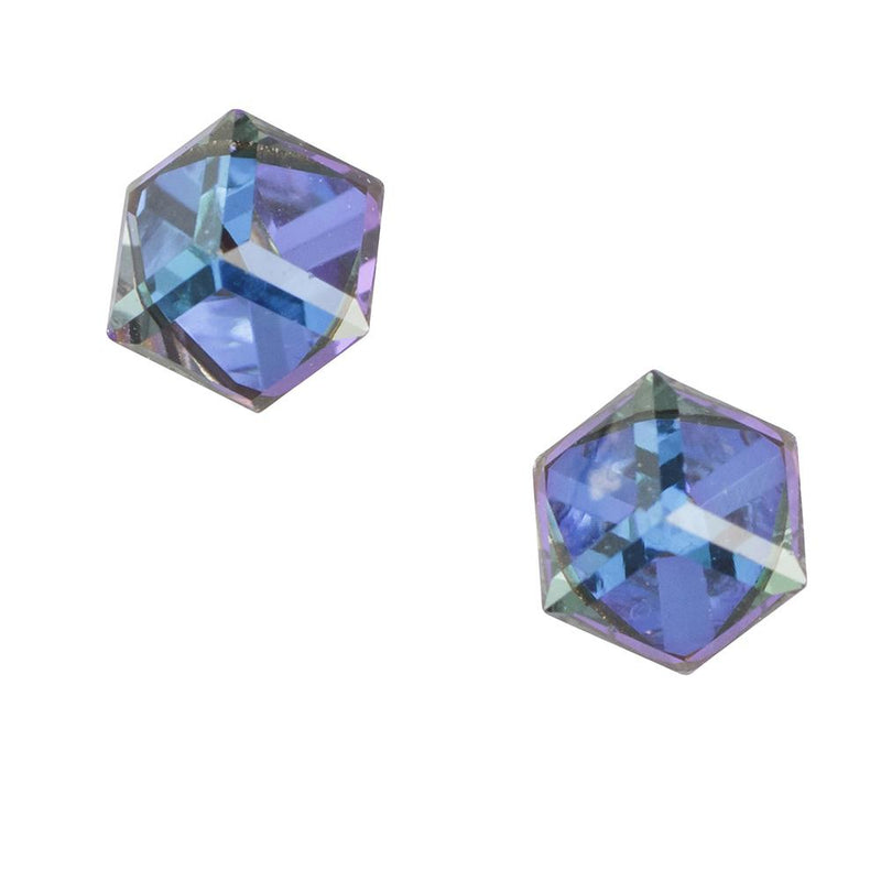 Crystal Cube Post Earring Heliotrope