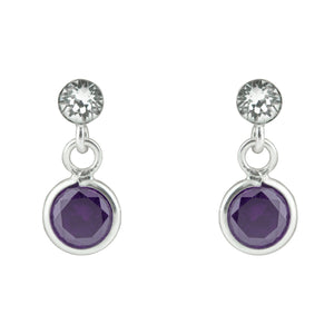 Purple CZ Drop Post Earring