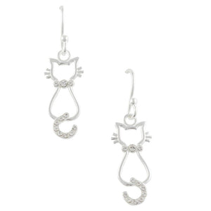 Crystal Cat Earring