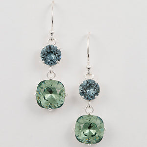 Double Cushion Cut Crystal Earrings
