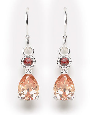 Fire Crystal Teardrop Earrings