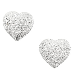 Sandblasted Heart Post Earring