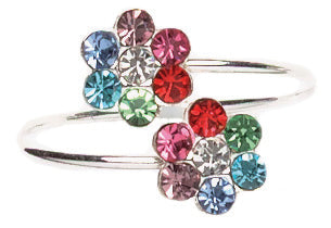 Rainbow Crystal Flower Toe Ring