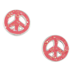 Pink Glitter Peace Post Earring
