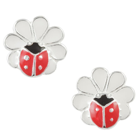 Enamel Ladybug And Flower Post Earring