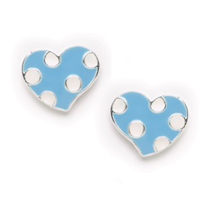 Blue Polka Dot Heart Post Earrings