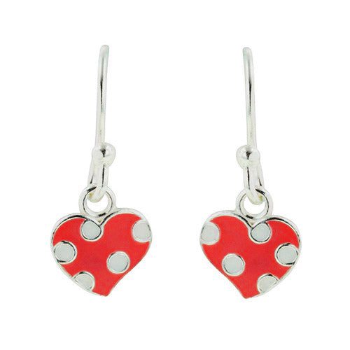 Red Polka Dot Heart Earring