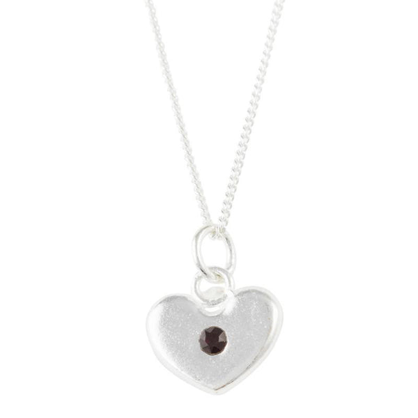 January Birthstone Crystal Heart Necklace