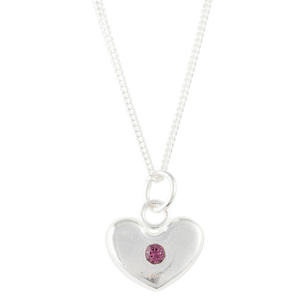 February Birthstone Crystal Heart Necklace