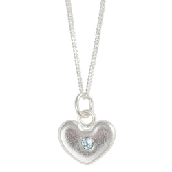 March Birthstone Crystal Heart Necklace
