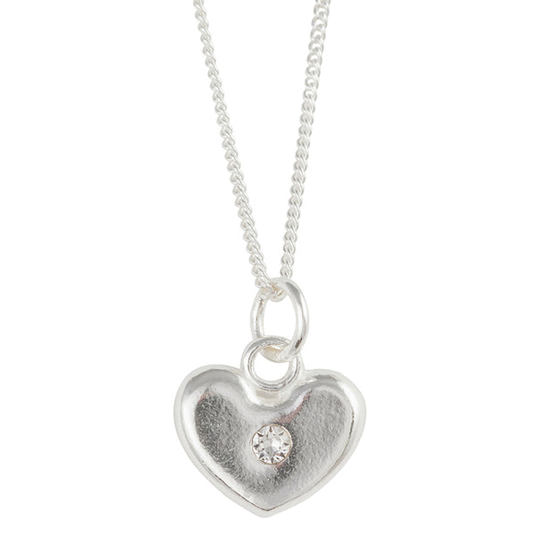 April Birthstone Crystal Heart Necklace
